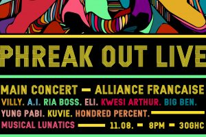 Ria Boss, Kwesi Arthur, A.I., others for 2017 Phreak Out Live on August 11 @ Alliance Francaise