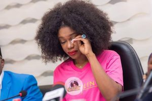 "Video: Becca cries at ""Unveiling album"" press launch"