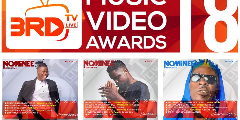 Stonebwoy & Sarkodie lead nominees for 2018 3RD TV Music Video Awards